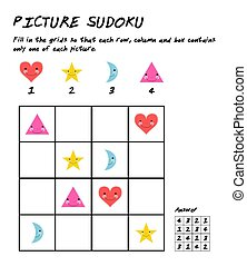 Sudoku puzzle game with pictures. Logic educational game. Kids activity sheet