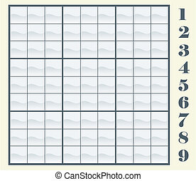 Create your own sudoku scheme by copying/pasting the numbers, then place them in the frames. Vector illustration