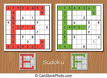 Sudoku set with answers. E, F letters