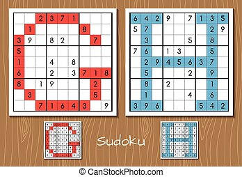 Sudoku set with answers. G, H letters