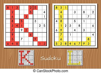 Sudoku set with answers. K, L letters