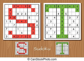 Sudoku set with answers. S, T letters