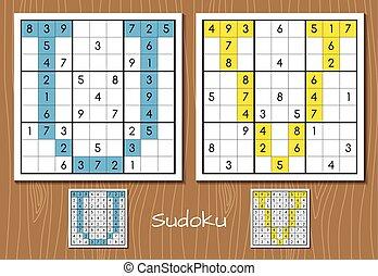 Sudoku set with answers. U, V letters