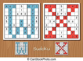 Sudoku set with answers. W, X letters