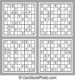 Sudoku - Vector set of four sudoku. Puzzles with numbers