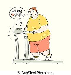 sudorazione, obeso, sovrappeso, vettore, routine, uomo