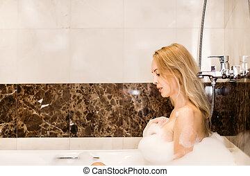 suds, jovem, banheiro, mulher, bonito