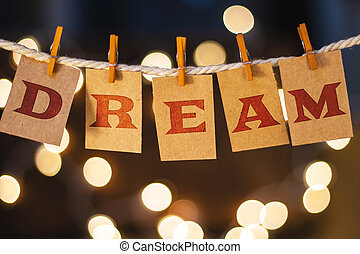 sueño, concepto, acortado, tarjetas, y, luces