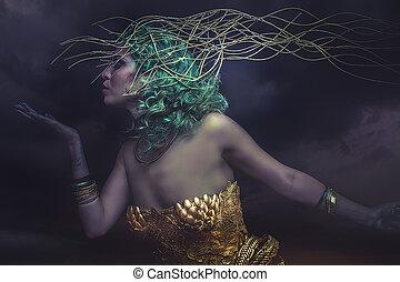 sueño, deidad, mujer hermosa, con, pelo verde, en, dorado, diosa, armor., fantasía, guerrero