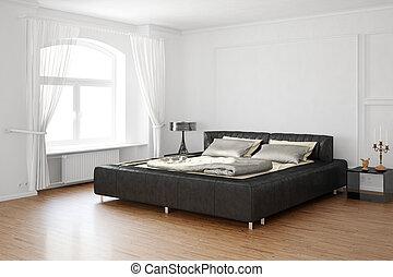 sueño, habitación, con, cama, y, cuero, partes