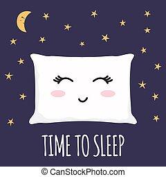sueño, latigazos, zzz., cerrado, almohada