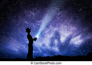 sueño, Lleno, rayo, lanzamiento, luz, magia, cielo, Arriba,...