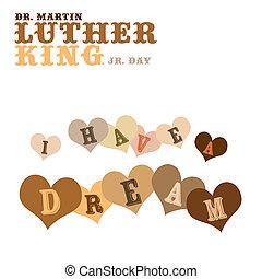 sueño, luther, martin, tener, rey