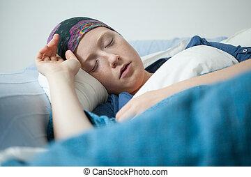 sueño, mujer, teniendo, joven, tumor