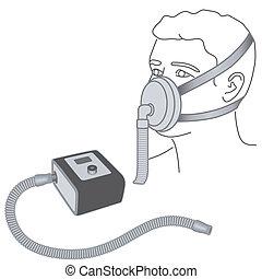 sueño, nariz, máscara, -mouth, cpap, apnea