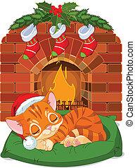 sueño, navidad, gatito