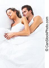 sueño, pareja.