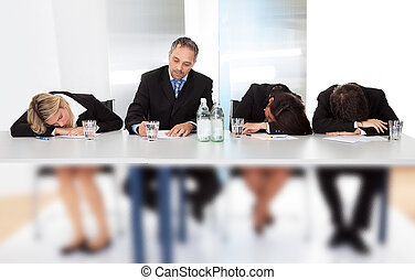 sueño, reunión, empresarios