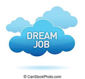 sueño, trabajo, diseño, nube, ilustración