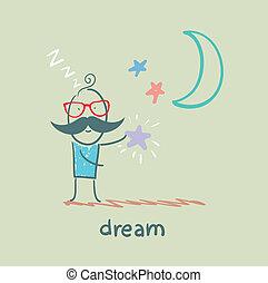 sueños, estrellas, hombre