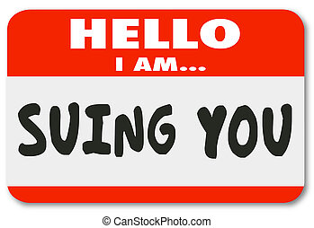 sue, nombre, pegatina, hola, etiqueta, entablar una demanda, defendent, pleito, usted