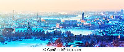 suecia, panorama, estocolmo, aéreo, invierno