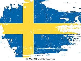 sueco, arranhado, bandeira