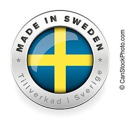 sueco, botón, hecho, traducción, suecia
