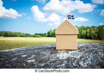 sueco, casa, mossy, bandeira, rocha, papelão