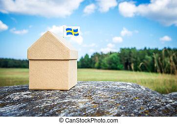 sueco, casa, pequeno, papelão, bandeira