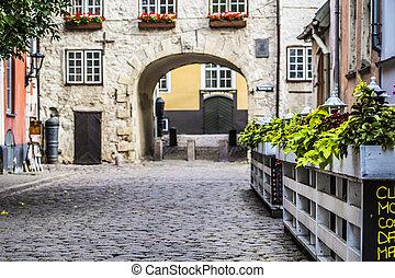 sueco, ciudad, viejo, letonia, puerta, riga