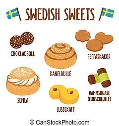 sueco, dulce, conjunto