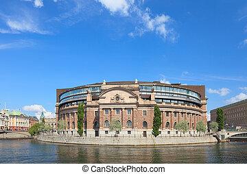sueco, edifício parlamento, em, stockholm., verão, 2009.