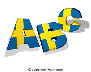 sueco, escuela, concepto, abc