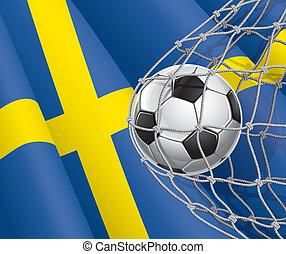 sueco, futebol, bandeira, bola