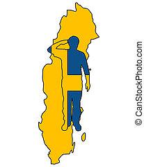 sueco, saudação