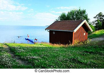 sueco, verão, cabana