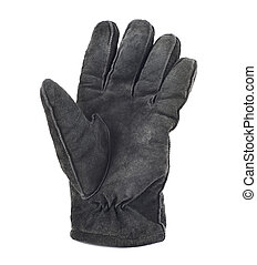 Suede winter glove isolated - Black suede winter glove...