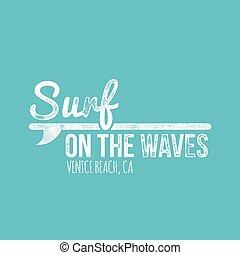 suef, op, de, golven, venice strand, retro, vieze , etiket, -, t-shirt, ontwerp
