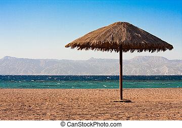 suela, playa, sombrilla