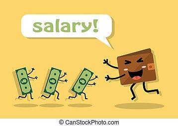 sueldo, alegría, obteniendo