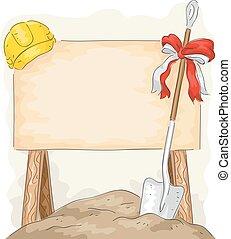 suelo, construcción, pala, rotura, tabla