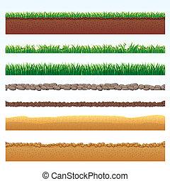 suelo, pasto o césped, cutaway, elements., desierto