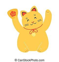 suerte, patas, tradicional, gato, amarillo, atraer, levantado, japonés, maneki, neko