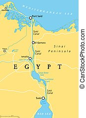 Suez Canal, political map. An artificial sea-level waterway in Egypt, connecting the Mediterranean Sea to the Red Sea, dividing Africa and Asia. It extends from Port Said to Suez. Illustration. Vector
