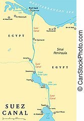 Suez Canal Political Map. Artificial sea-level waterway in...