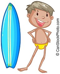 Sufer and surfboard on white background