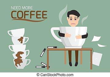 (suffer, because, illustration., cup., fatigué, grand, relâcher, paresseux, plus, sévère, vecteur, café, besoin, homme affaires, somnolence, addiction., boisson, dysentery)
