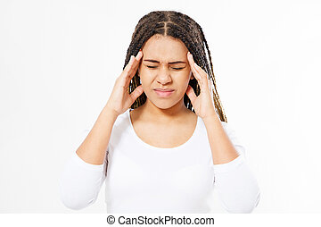 suffering afro american woman on white background