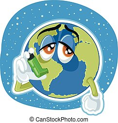 Suffering Planet Earth Cartoon Vector Ecology Concept...